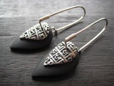 Celie Fago - Black Oxidized Silver Leaf Earrings - with black polymer clay