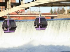 Incredible Gondola Rides Around the World ::: SPOKANE FALLS SKYRIDE Spokane, Washington This aquatic adventure takes in a bit of architecture too, sailing past Spokane's art deco City Hall before gradually descending 200 feet over the Huntington Park Natural Area.