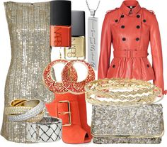"""""""Coral and Mixed Metals Trust"""" by essentialglimmer ❤ liked on Polyvore"""