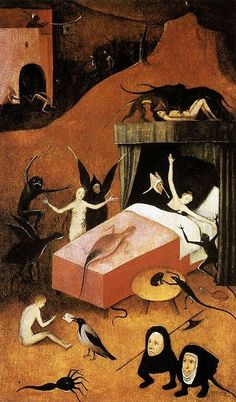 Death of the Reprobate (Fragment) by Hieronymus Bosch. Medium: Oil on panel; Fragment of the right wing of a triptych depicting the Last Judgment; After Hieronymus Bosch; Hieronymus Bosch Paintings, Renaissance Kunst, Arte Obscura, Ouvrages D'art, Dutch Painters, Medieval Art, Surreal Art, Painting & Drawing, Art History