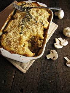 Mushroom lentil pot pie with gouda/biscuit topping More