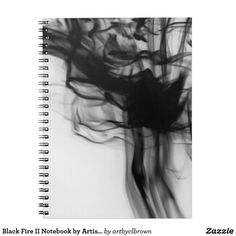 """Organize your day with a beautiful, artist-designed notebook! The Black Fire II Notebook designed by Artist C.L. Brown features fire photography converted to black and white. This notebook is a great way to show off your personal style and keep track of important notes and appointments all at once. Notebook has 80 black & white lined pages with dimensions of 6.5"""" x 8.75"""" and a cover printed in vibrant, sharp color. Notebook has lay flat spiral binding."""