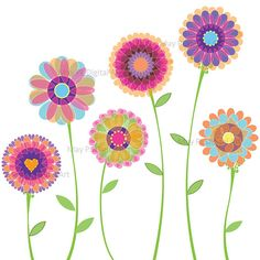 Orange Pink Flowers Clipart Spring Flowers by MayPLDigitalArt, $4.50
