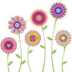 Orange Pink Flowers Clipart Spring Flowers by MayPLDigitalArt, $4.50