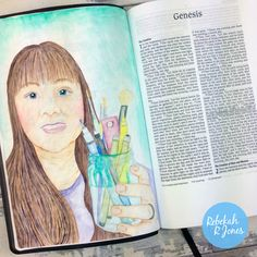 Enjoy my Inktense Pencils Tutorial for this weeks Bible Art Journaling Challenge and learn how to create a self portrait! Bible Study Journal, Scripture Study, Bible Art, Art Journaling, Scripture Journal, Journal Art, Bible Verses, Genesis Bible, Genesis 1
