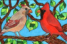NFAC ACEO PRINT Red Birds Male & Female Cardinals Folk Painting DEBBIE HART NEW