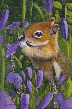 Chipmunk amongst the flowers / Wildlife / Animal / SFA - An original hand painted animal acrylic painting by Australian Artist Janet Graham