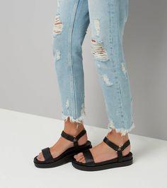 Black Satin Velcro Strap Sandals | New Look