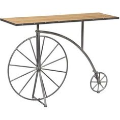 Bicycle Wood & Metal Console Table