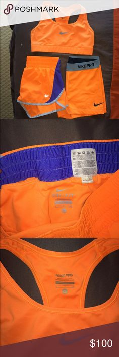 Matching Nike set (bra, spandex, shorts) Matching bright orange (same color for all of them) Nike set 1. Nike running shorts-Size small  2. Nike sports bra-size small  3. Nike Spandex- size medium  All of them worn a good amount of times, no tears, stains, markings. All in great condition! Nike Shorts