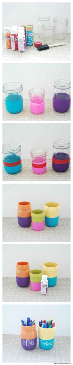 Color Block Mason Jars | paint mason jars with chalkboard paint and label them accordingly. Love it!