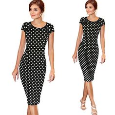 95bc4a86d07 Women Retro Faux One-Piece Polka Dot Contrast Patchwork Bandage Bodycon  Short Sleeve Sexy Party Pencil Knee-Leng Dress
