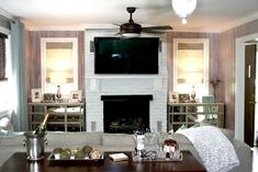 Just a Touch of Gray: Living Room Reveal White Washed wood paneling White Washed Wood Paneling, Knotty Pine Walls, Painted Brick Fireplaces, Cottages And Bungalows, Touch Of Gray, White Fireplace, Whitewash Wood, Room Inspiration, Design Inspiration