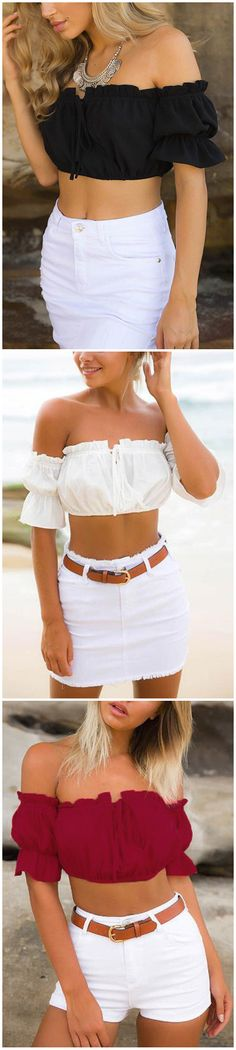 Off Shoulder Lace-up Front Pleated Crop Top