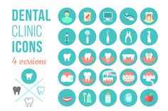 Dental clinic services flat icons by vectorikart on Creative Market