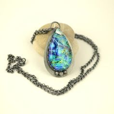 dichroic glass and sterling silver pendant, oxydized Handcrafted silverwork.