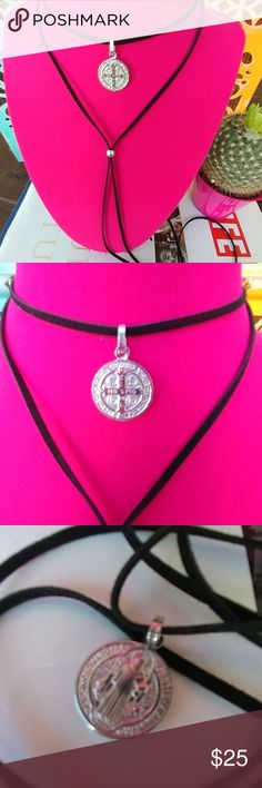 Black choker necklace Saint Benedict  charm 925 sterling silver stamped on the back.  It comes with an adjustable suede ribbon so fits any size.  Made in USA  A piece that will last forever  San Benito,  Saint Benedict. Jewelry Necklaces