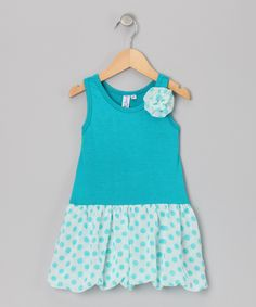 Take a look at this Turquoise Bubble Liza Dress - Toddler & Girls on zulily today!