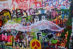 john lennon wall, prague John Lennon Wall, Visit Prague, Prague Castle, Interesting Buildings, Painting, Painting Art, Paintings, Painted Canvas, Drawings
