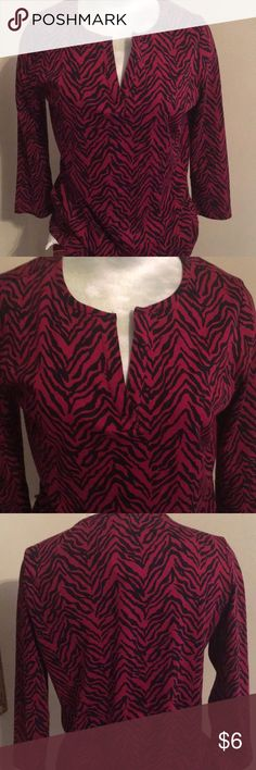3/4 length Career Top A Kim Rogers GUC Red and Zebra patterned top. Perfect to wear with a blazer or cardigan. Kim Rogers Tops Blouses