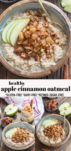 This Apple Cinnamon Oatmeal is a quick & easy breakfast to prepare. Oats are filling, and so yummy with tender apples and cinnamon. This cinnamon apple oatmeal recipel is perfectly cozy for fall & apple season & works great for meal prep, and the finished oats are so creamy and delicious. Make a double-batch to warm up a bowl throughout the week. Gluten-free, refined-sugar free & dairy-free. Includes options for those that are grain-free, paleo and low-carb. #oatmeal #applecinnamon…