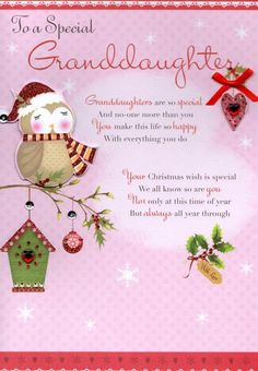 To A Special Granddaughter Christmas Greeting Card