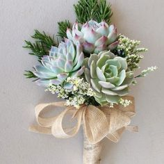 "Once you see a bouquet of succulents it's easy to say """"I do"""". Whether it's all succulents or succulents with mixed flowers it'll be a bouquet to remember. Succulent Bouquet, Diy Bouquet, Bridesmaid Bouquet, Wedding Bouquets, Pink Succulent, Wedding Bouquet Succulents, Succulent Wedding Centerpieces, Bridesmaids, Church Wedding Flowers"