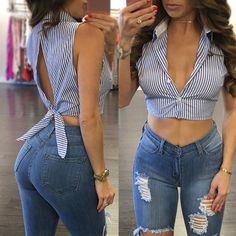 Hot Women& Crop Top Sexy deep v neck short crop top tees Casual short sleeve tank top Summer 2017 streetwear striped women tops Buy Women's Striped Back Sleeveless Crop Top Shirt Blouse Tanks Tops at Wish - Shopping Made Fun 🌹 Blue striped tie open bac Crop Top Hoodie, Crop Top And Shorts, Crop Top Shirts, Striped Crop Top, Tank Tops, Diy Crop Top, Bow Crop Tops, Stripe Top, Cropped Top