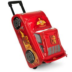 Disney Lightning McQueen Rolling Luggage. Artwork features raised wheel detailing. Retractable handle, Top carrying strap, Exterior compartment with zip closure, Main compartment includes zip closure with two zip pulls. Two rear wheels, ID tag holder with clear window display. Ages 3+. 18 1/2'' H x 10'' W x 9'' D.