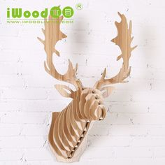 Customized wood Reindeer head wall decoration