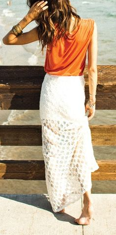 white lace long skirt with bright coloured sleeveless top - Summer Boho