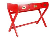 Red Campaign-Style  Desk on OneKingsLane.com LOVE LOVE LOVE LOVE LOVE- Anyone find a campaign style desk/chest or whatever, tell me!!