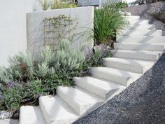 Nice stairs to the garden picture 1 Spanish Landscaping, Modern Landscaping, Backyard Landscaping, Sloped Backyard, Sloped Garden, Home Garden Design, Garden Landscape Design, Landscape Stairs, Garden Stairs