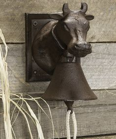 Look what I found on #zulily! Bell Cow Bust #zulilyfinds Perfect for backdoor/slider when it's time for supper & kids are outside!