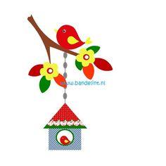 strijkapplicatie vogel huisje