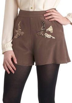 Birds and the Beads Shorts. Fantastic cut, and adorable pairing with tights. Looks like something Zoey Dachanel would wear.