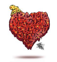 Tattoo Lettering Styles, Graffiti Lettering Fonts, Graffiti Alphabet, Lettering Design, Love Graffiti, Graffiti Drawing, Images Alphabet, 3d Text, Alphabet