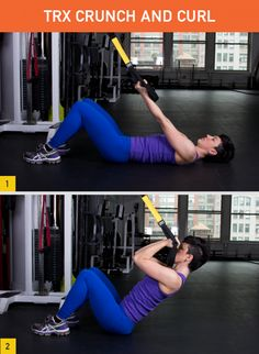 TRX Crunch and Curl Targets: Biceps, abs