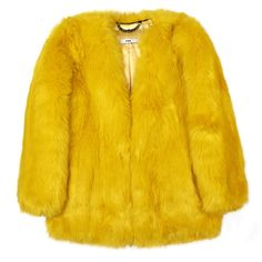Tweety Boxy Coat (14.790 ARS) ❤ liked on Polyvore featuring outerwear, coats, clothes - outerwear, jackets, yellow, fur coat, faux coat, over coat, boxy coat and yellow coat