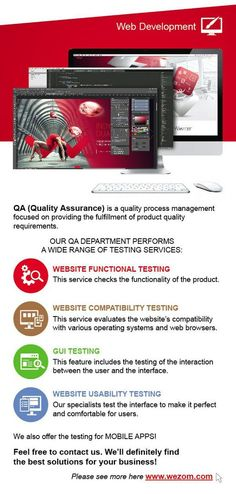 Wezom Studio offers QA (Quality Assurance) as a quality process management focused on providing the fulfillment of product quality requirements.  Our QA Department performs a wide range of testing services: - Website Functional Testing This service checks the functionality of the product.  - Website Compatibility Testing This service evaluates the website's compatibility with various operating systems and web browsers.  - GUI Testing This feature includes the testing of the interaction…