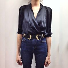 Leather Double Buckle Western Waist And Hip Belt