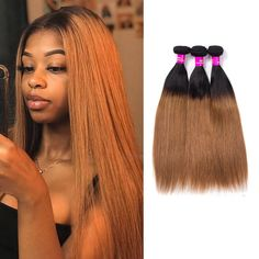 Brazilian ombre straight hair ombre human hair weave 2 tone black to brown Ombre Hair Color, Blonde Ombre, Hair Color Balayage, Brown Hair Colors, Blonde Hair, Blonde Waves, Brown Blonde, Brown Balayage, Balayage Highlights