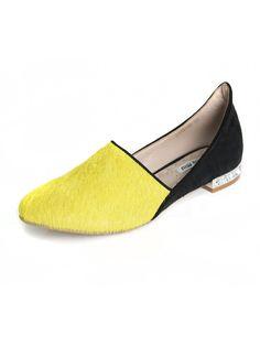 Contrast Ponyskin Flat Shoes With Rhinestone Heels | Choies