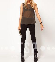 [US$30.99] - Shoulder Black Leather Splice Chiffon Sleeveless T-Shirt : ThatsPoint.com