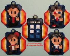 The Regenerated Original Doctor Who and the Tardis - Coaster Set perler beads by NrrrdGrrrlConcepts