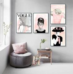 Vogue Posters Audrey Hepburn Print Set of 4 Fashion Wall Art Vogue Cover Magazine Fashion Decor Vogue print Gift For Her fashion random Fashion Wall Art, Fashion Room, Fashion Fashion, Diy Fashion Decor, Trendy Fashion, Living Room Decor, Bedroom Decor, Teen Bedroom, Bedroom Ideas