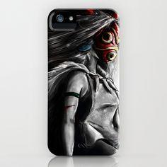 Miyazaki's Mononoke Hime Digital Painting the Wolf Princess Warrior Color Variation iPhone Case by Barrett Biggers - $35.00