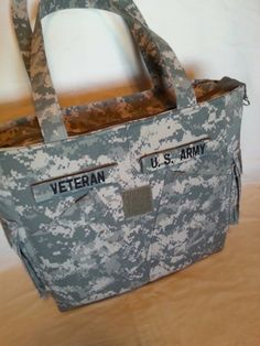 Army veteran gift for veteran handmade Army uniform bag custom embroidery personalized army veteran bag veteran travel tote bag by bythebayoriginals on Etsy