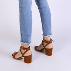 Alana Heeled Sandals in Tan Faux Suede