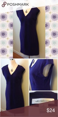 """Liz Claiborne Purple Dress A beautiful deep purple called aubergine. This is a fitted dress with great shaping. At 5'4"""", the hem hit me just above my knees. Sexy, Liz Claiborne Dresses Mini"""